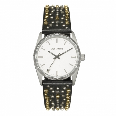 Montre Fusion Silver Black With Dots Leather-R-W-F402